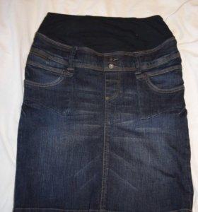 Джинсовая юбка для беременных 44-46