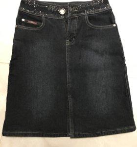 Юбка джинсовая утеплённая на флисе