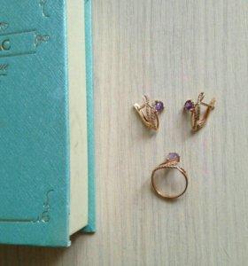 Комплект серьги+кольцо с фианитом