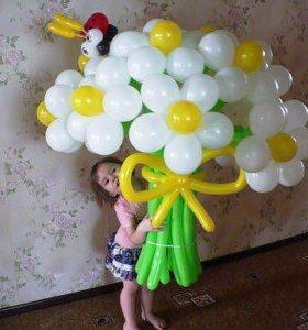 Цветы из шаров букетик