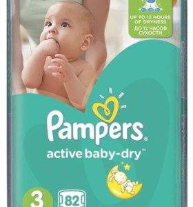 подгузники Pampers Active baby dry 3 (5-9кг) 82шт