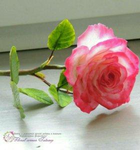 Роза ручной работы из холодного фарфора