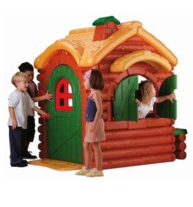 Детский игровой домик бревенчатый, звуковой. ТОРГ.