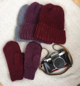 Вязаные комплекты шапка+варежки ручной работы