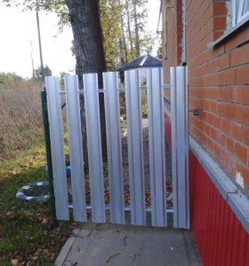 Забор из сетки-рабица с метал. калиткой