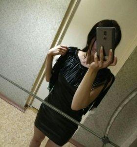 Платье экокожа с бахромой