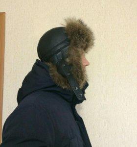 Мужская Кожанная шапка с Мехом 56р.