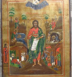 Икона Святого Иоанна Предтечи со сценами жития