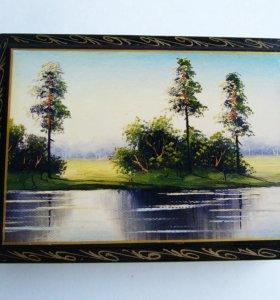 Большая шкатулка с пейзажем