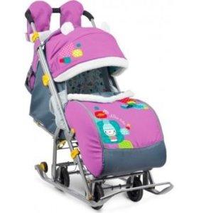 Санки-коляска Ника детям 7-2  Снеговик