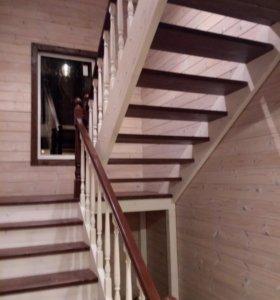 Деревянные лестницы,отделка дома,облицовка