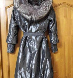 Зимнее пальто на натуральном меху
