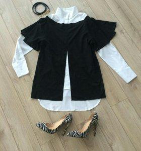 Белая блузка с оригинальным черным топом комплект