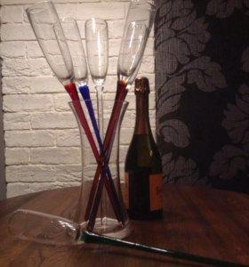 Набор ваза и 6 фужеров под шампанское