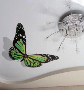 Натяжной потолок с фотопечатью бабочка арт 001.