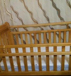 Кроватка ручной работы + матрас+ подушка