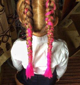 Плетение кос с нитками