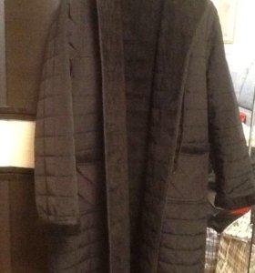Стеганое пальто на меху48-50 р