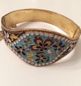 Кубачинский серебряный браслет с позолотой/эмалью