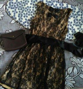 Вечернее кружевное платье zolla