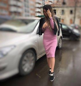 платье розовое с люрексом