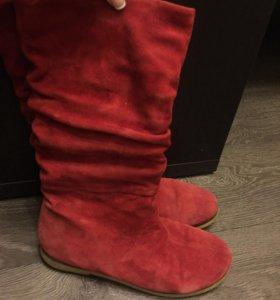 Сапоги замшевые Красные