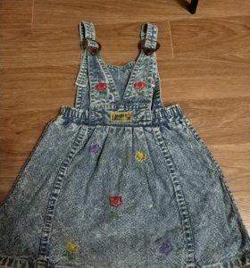 Джинсовый сарафан для маленькой девочки