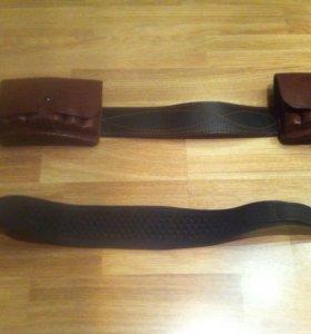 Патронташ кожаный коричневый+ремень в подарок