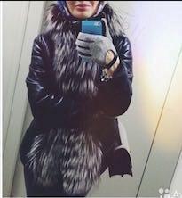 Кожаная куртка с отделкой из чернобурки