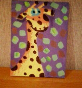 """Картина """"Жираф"""" ручной рабоьы"""