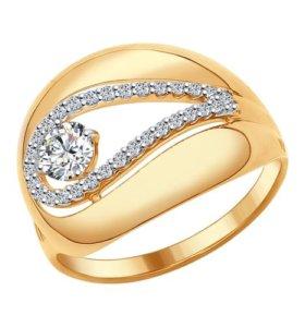 Кольцо из золочёного серебра с фианитами, р. 17,5,