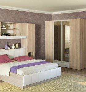 Кровать (дуб сонома+кожзам)