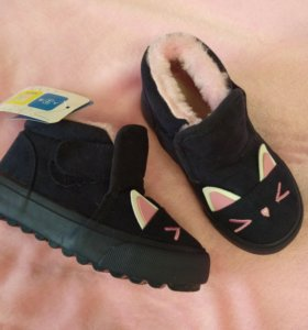 Детские темно-синие замшевые зимние ботиночки