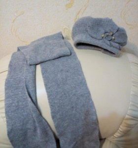 Шапка вязаная +шарф