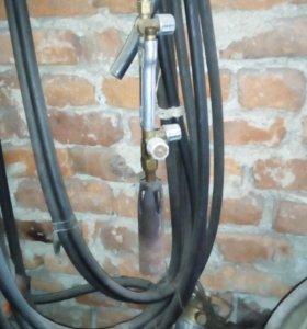Газовая горелка со шлангами, баллоном и редуктором