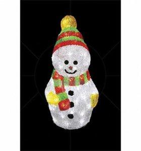 """Акриловая светодиодная фигура """"Снеговик с шарфом"""""""