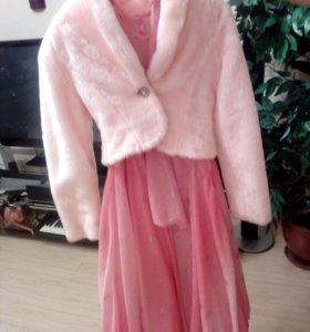 Платье розовое с меховым пиджачком