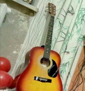 Гитара с ремнем и чехлом