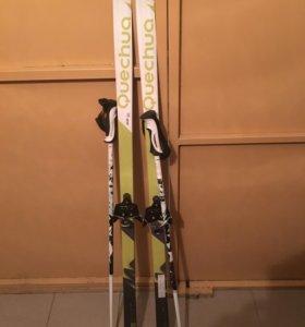 Лыжи 140 см с палками 100 см