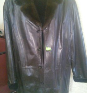 Новая Кожаная куртка зимняя 54 р