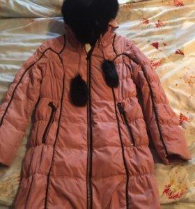 Детский пуховик, пальто, мех натуральный