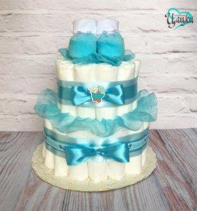 Торт из подгузников из памперсов