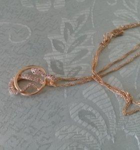 Золотистая цепь с кольцом-кулоном новая
