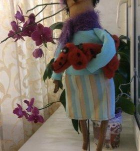Кукла-оберег Баррикада с пёсиком Шафраном