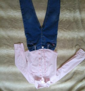 Джинсы и рубашка р. 92 на девочку.