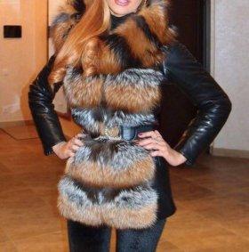 Кожаная куртка трансформер мех лиса зима