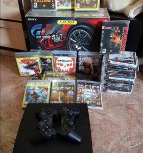PS3 slim 320gb + 27 игр на дисках