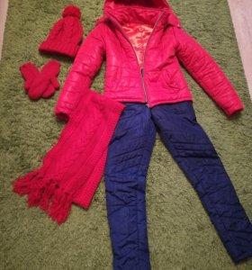Костюм зимний+шапка, шарф, варежки
