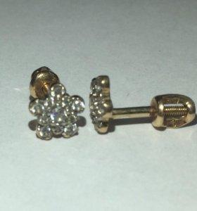 Золотые серьги-гвоздики, 585 проба, 1,20 грамм.