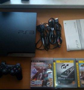 Sony PS3 slim + 3 игры